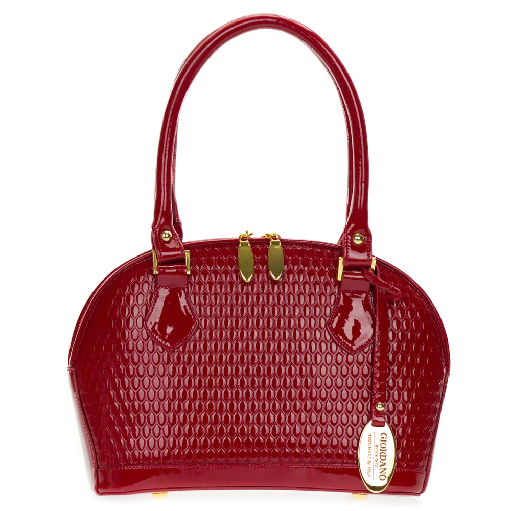 Giordano Italian Made Red Patent Embossed Leather Small Structured Tote Handbag
