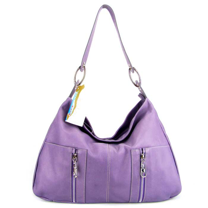 Moda Italia Italian Designer Lavender Leather Hobo Shoulder Bag Purse - / Clearance /