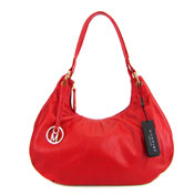 Montini Italian Red Leather Hobo Shoulder Bag Purse