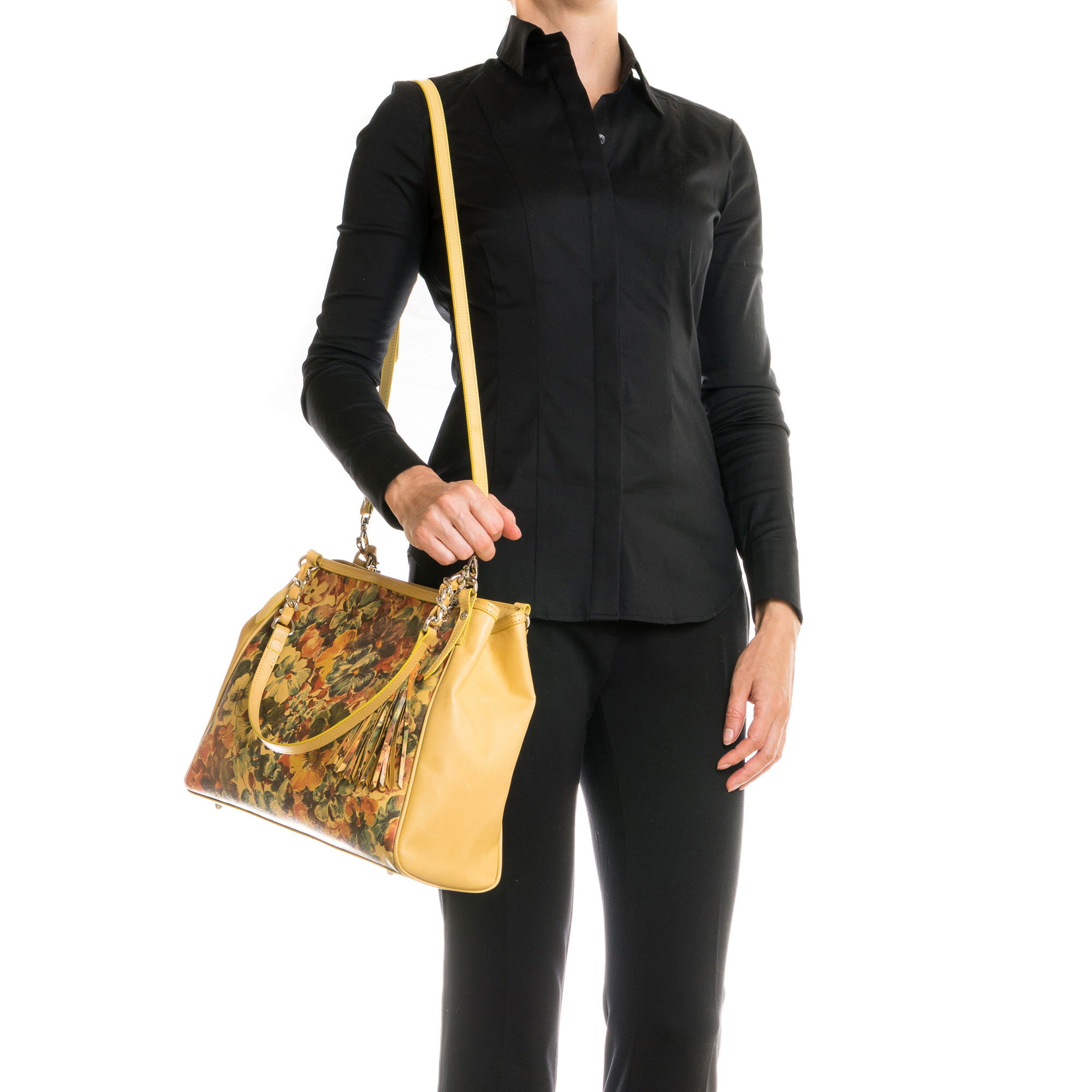 Cynthia Rowley Yellow Purse: Enriched Italian Made Yellow Leather Tote Handbag With