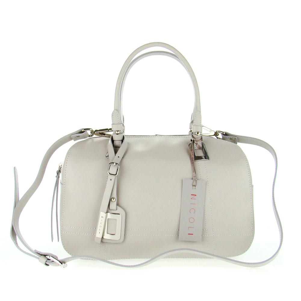 Nicoli Italian Made Gray Calf Leather Structured Designer Ladylike Bowling Tote Bag