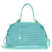 Cromia Italian Made Turquoise Blue Perforated Leather Carryall Satchel Handbag