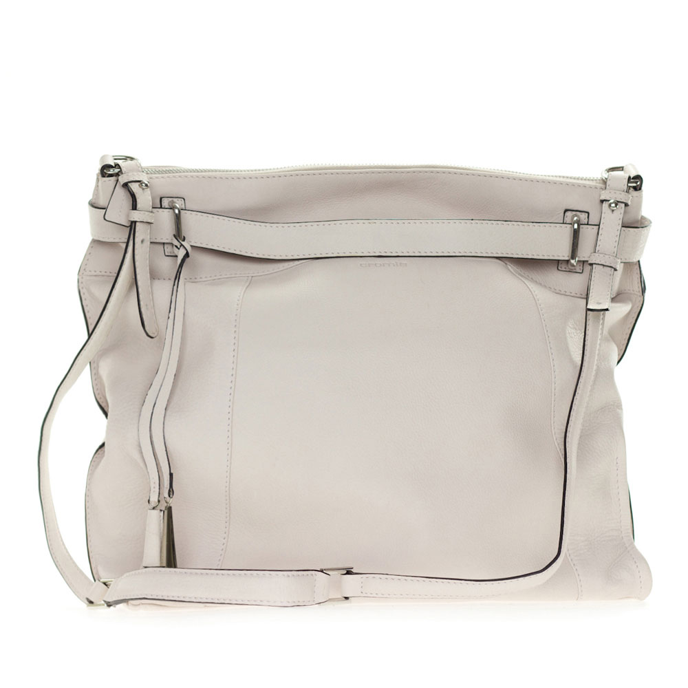 sale retailer d6a41 65973 Cromia Italia Made Off-White Stone Leather Large Carryall Satchel Shoulder  Bag - / Clearance /