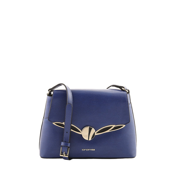 Cromia Italian Made Blue Lizard Embossed Calf Leather Crossbody Bag