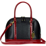 Giordano Italian Made Black and Red Patent Embossed Leather Structured Tote Handbag