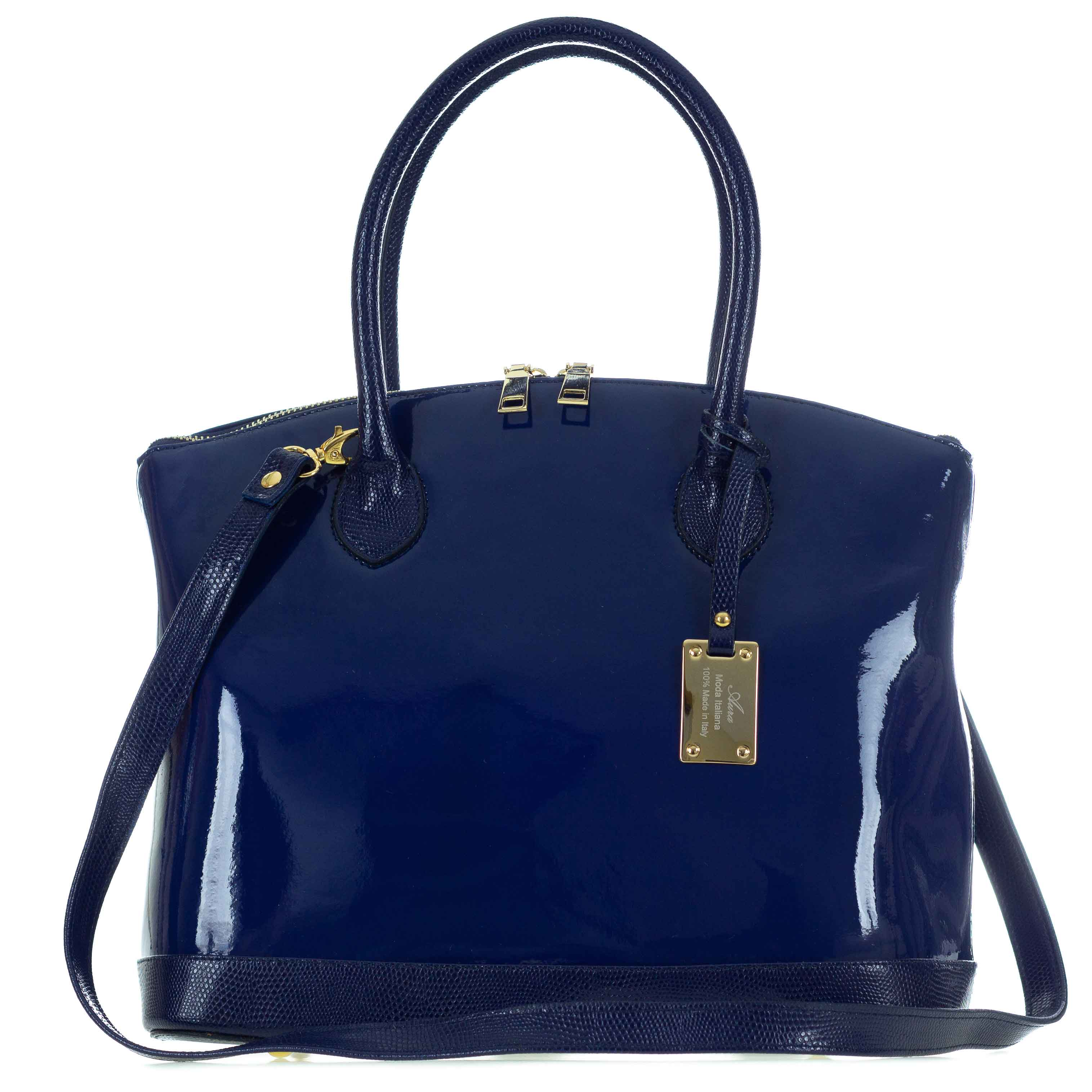 AURA Italian Made Navy Blue Patent Leather Tote