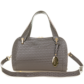 Giordano Italian Made Taupe Gray Patent Embossed Leather Satchel Handbag