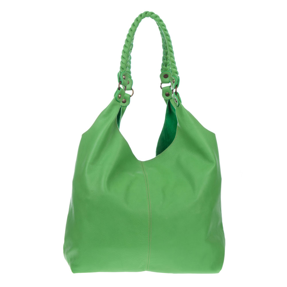 Marco Masi Italian Made Green Leather Oversized Designer Hobo Bag - / Clearance /