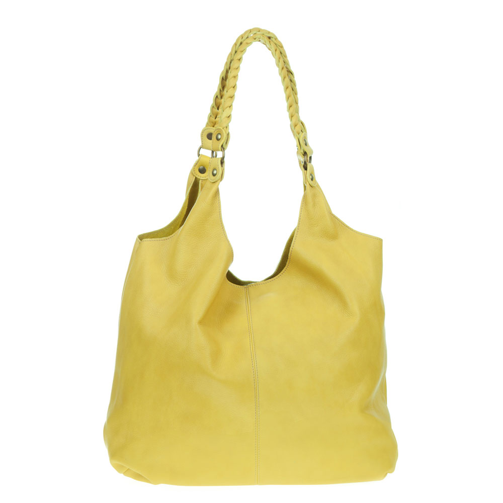 Marco Masi Italian Made Yellow Leather Oversized Designer Hobo Bag - / Clearance /