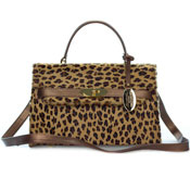Giordano Italian Made Leopard Print Cowhide and Bronze Leather Small Structured Handbag