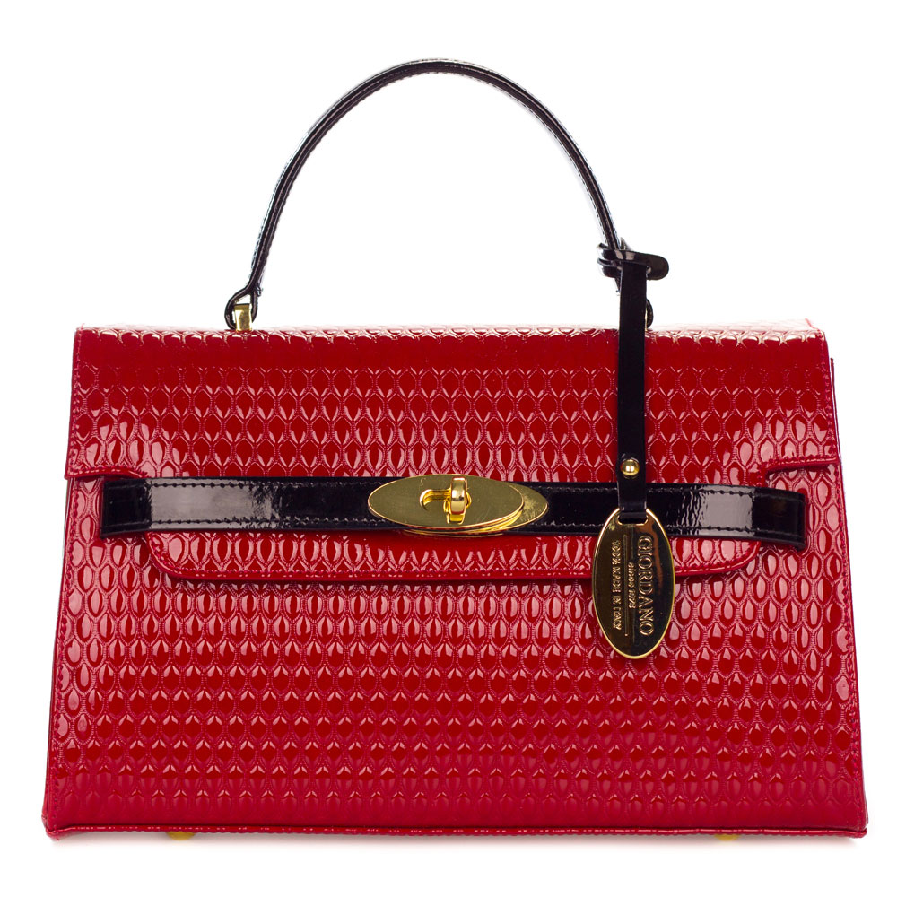 31c227d586 Giordano Italian Made Red   Black Patent Leather Small Structured Handbag.  Hover to zoom