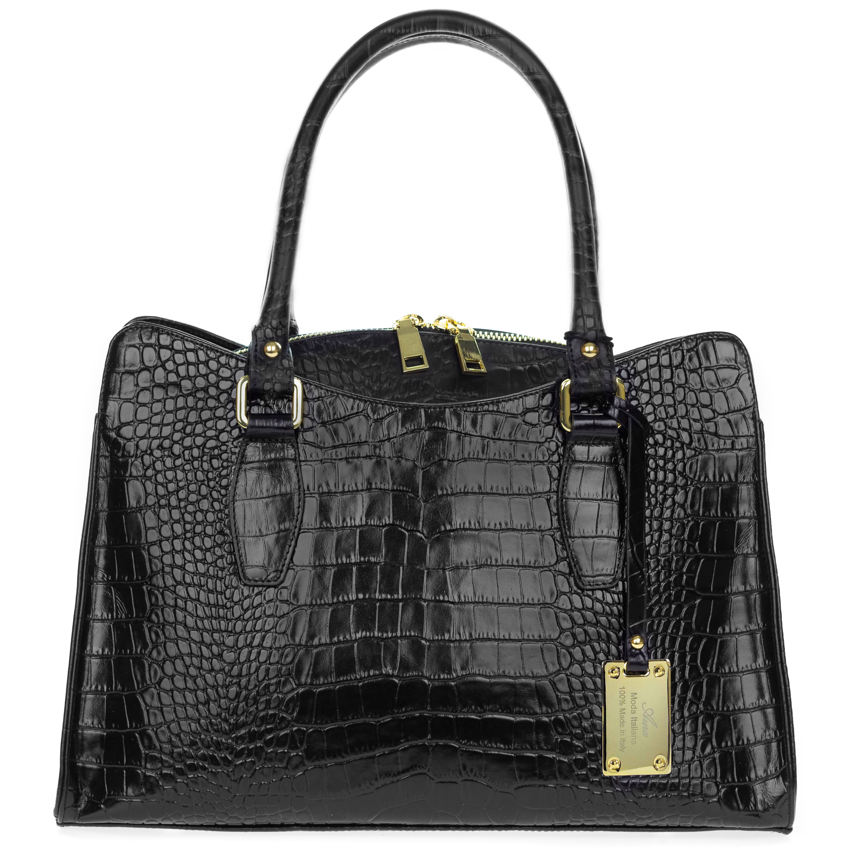 Giordano Italian Made Black Crocodile Embossed Leather ...