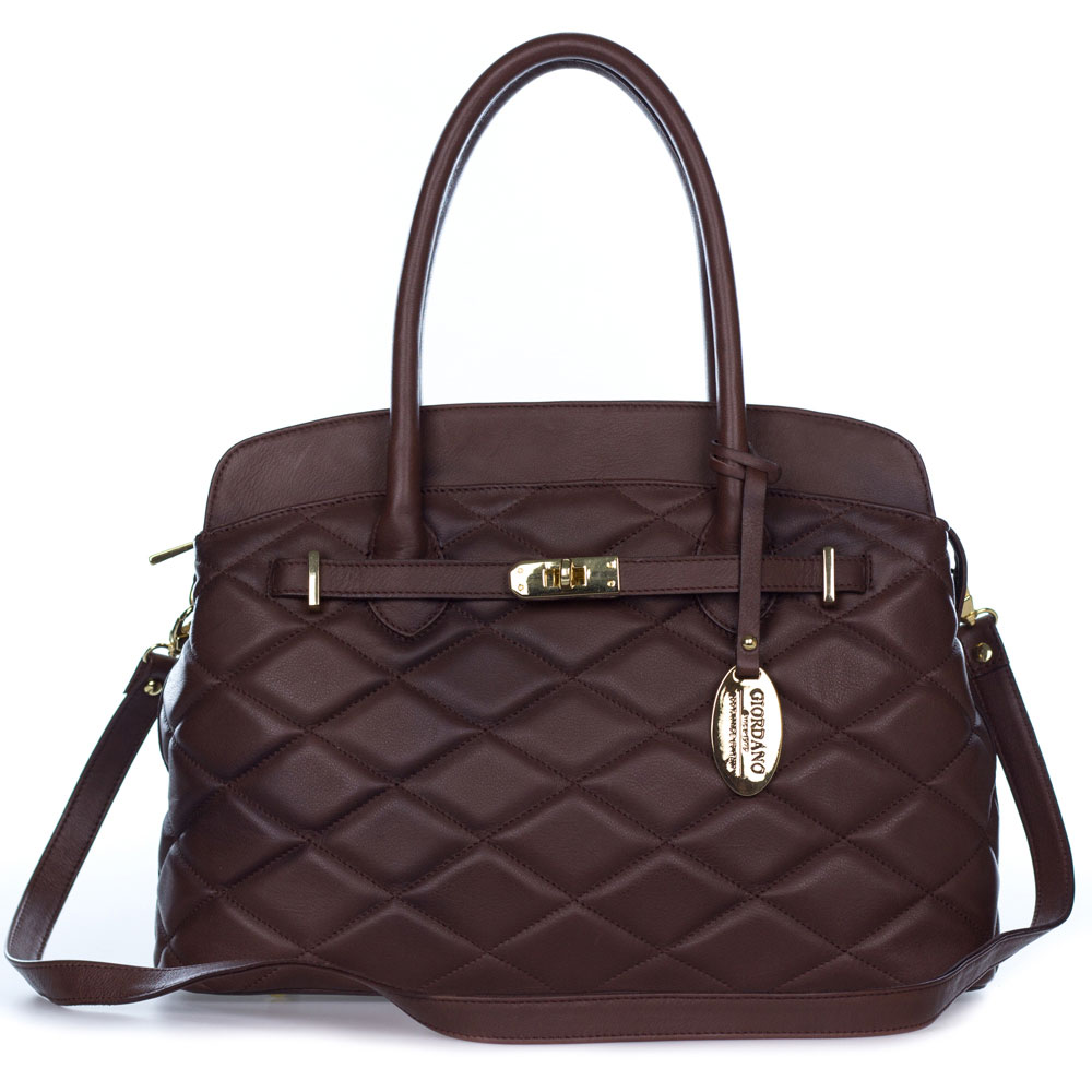 8d1cc88689 Giordano Italian Made Brown Quilted Leather Tote Handbag - / Clearance /