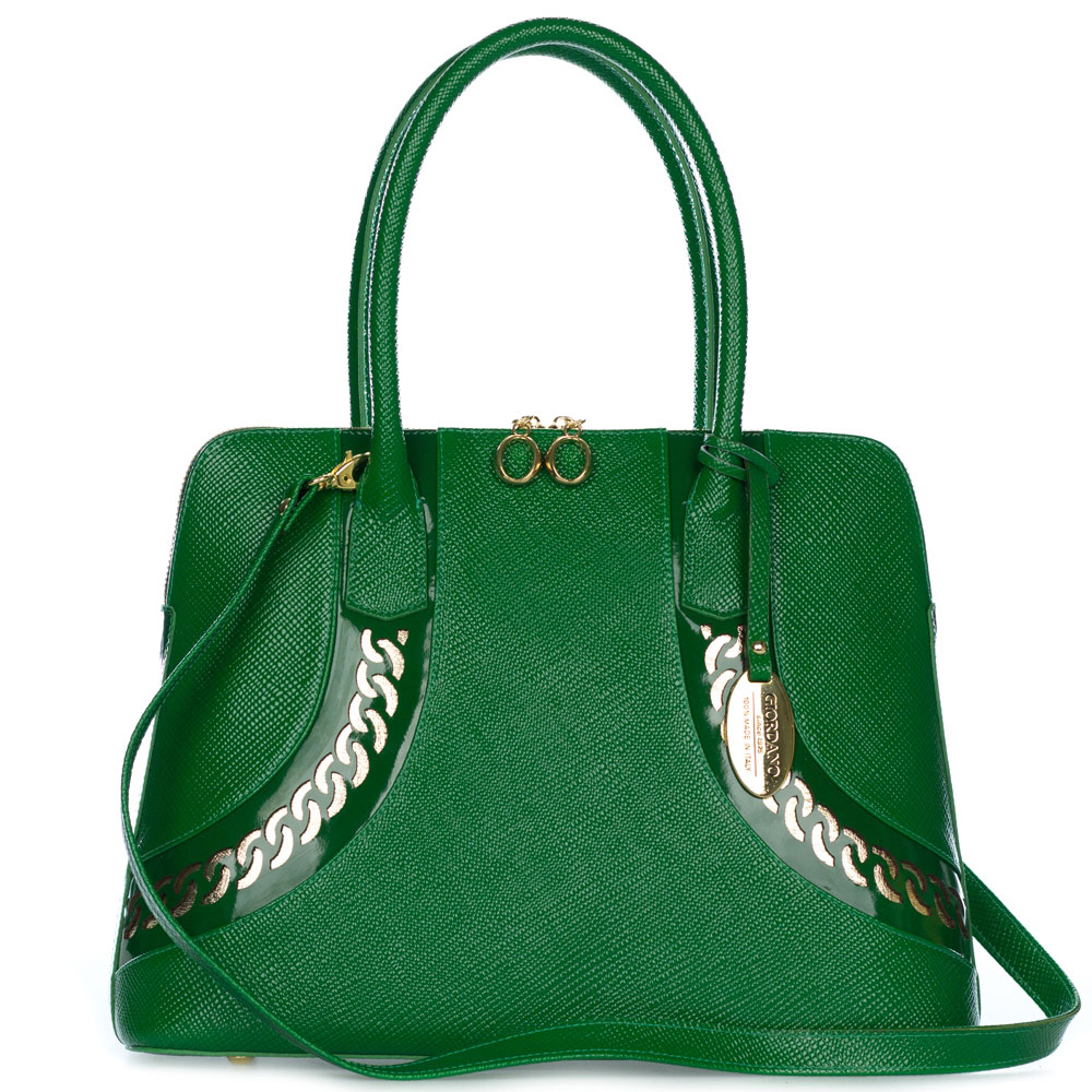 Giordano Italian Made Green Textured Leather Tote Handbag with Gold Chain Detail