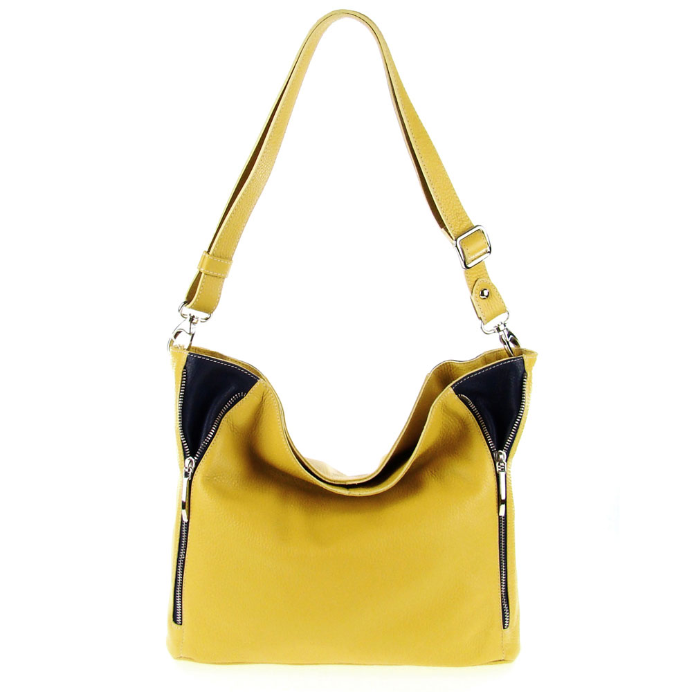 e98e4af3ab7f Italian Made Yellow & Blue Pebbled Leather Zipper Detail Crossbody Bag By  M.A.P. Italy