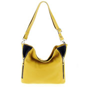 Italian Made Yellow & Blue Pebbled Leather Zipper Detail Crossbody Bag By M.A.P. Italy