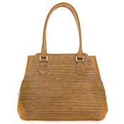 Giordano Italian Made Tan Leather Large Stripe Shopper Tote Handbag - / Clearance /