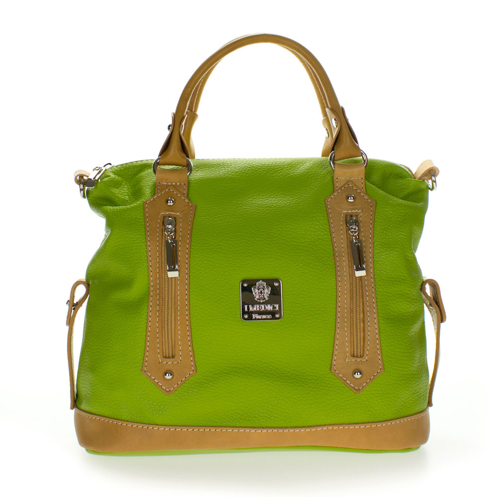 Medichi Italian Made Green And Beige Leather Convertible