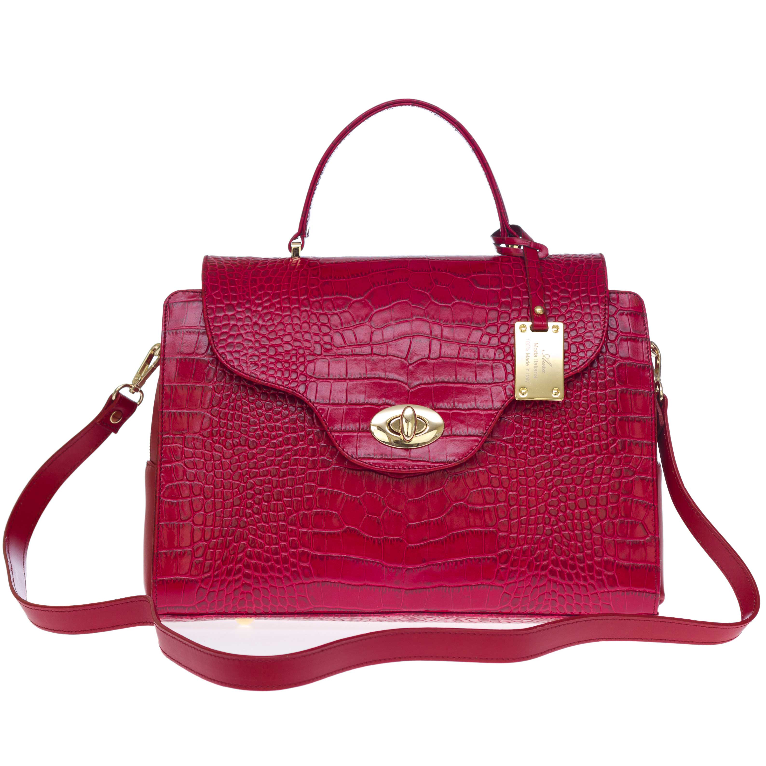 AURA Italian Made Red Crocodile Embossed Leather Medium Tote Handbag