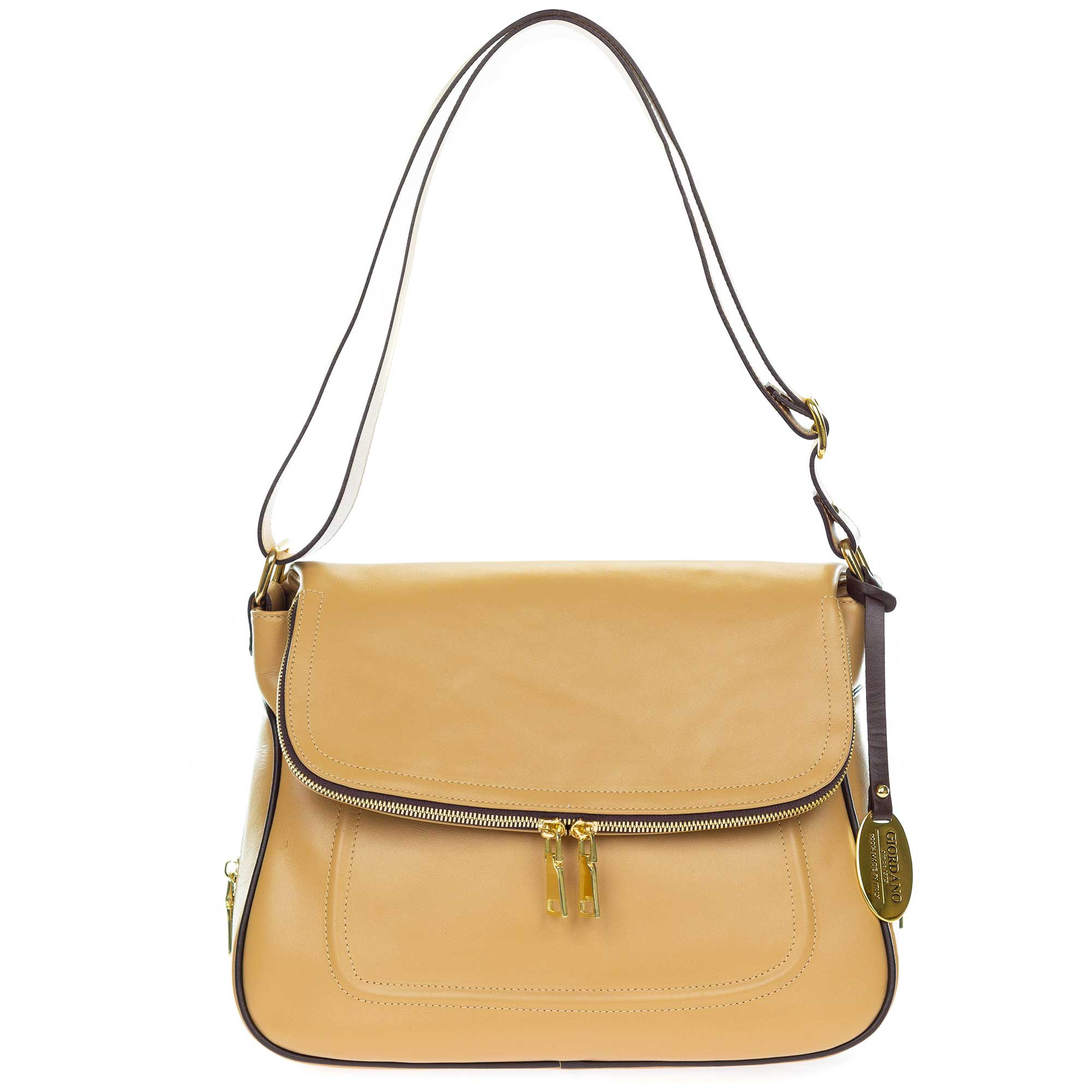 Giordano Italian Made Camel Leather Shoulder Bag with Wrap Around Zipper