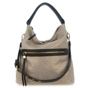 Gianni Chiarini Italian Made Metallic Champagne Canvas Zip Pocket Hobo Bag