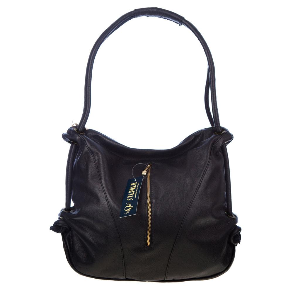 Stephen italian made black leather top handle designer handbag for Designer bad