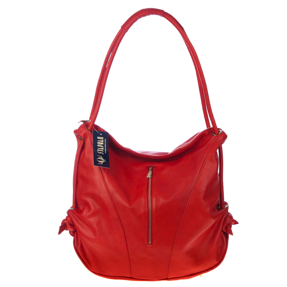 Stephen Italian Made Red Leather Top Handle Designer Handbag - / Clearance /