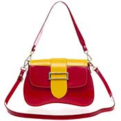 AURA Italian Made Red and Yellow Patent Leather Small Crossbody Purse