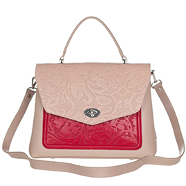 Giordano Italian Made Beige Purse with Floral Embossed Flap