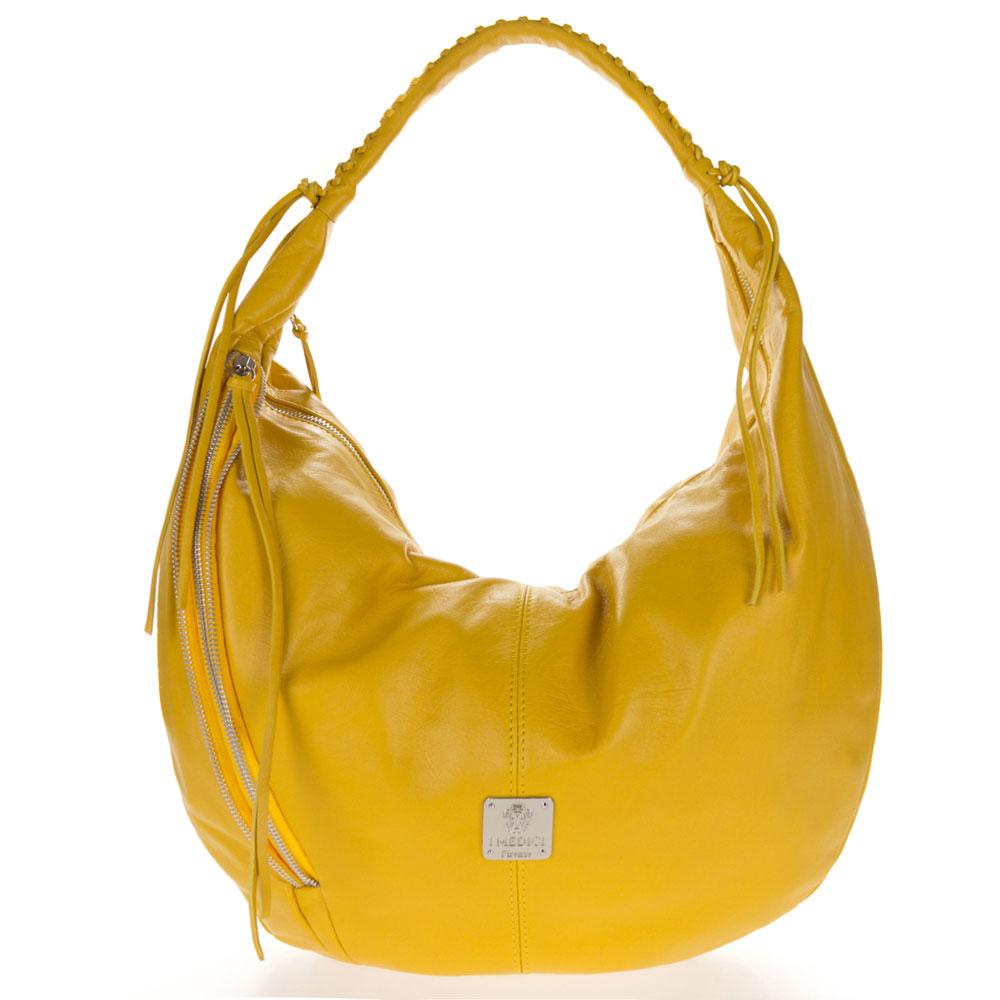 Medichi Italian Made Yellow Leather Zip Front Pocket Large