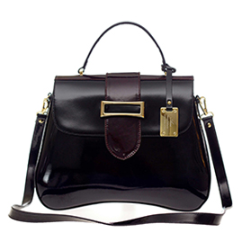 AURA Italian Made Black & Brown Patent Leather Handbag with Buckle