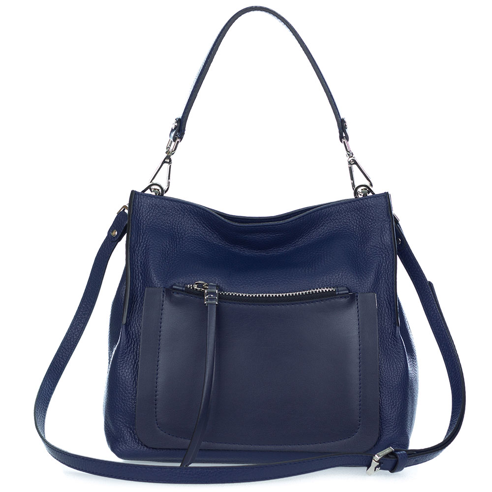 Gianni Chiarini Italian Made Navy Blue Pebbled Leather Slouchy Hobo Bag with Pocket