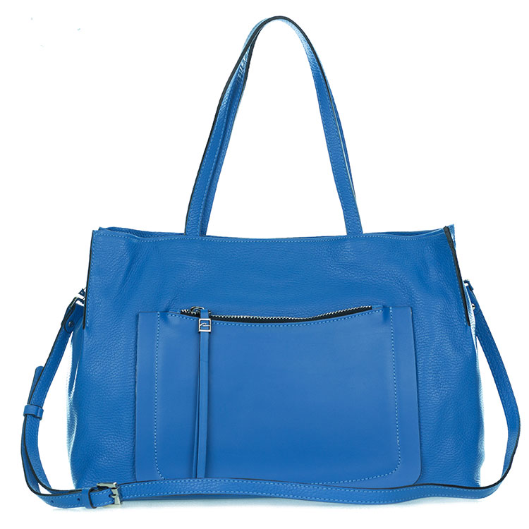 Gianni Chiarini Italian Made Blue Pebbled Leather Large Carryall Tote Bag with Pocket