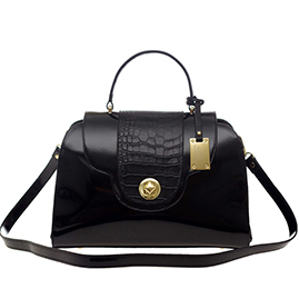 AURA Italian Made Black Patent Leather Tote with Croc Detail