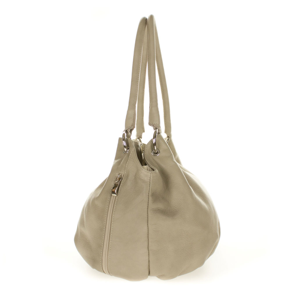 38ed744ea5 Cosette Italian Made Dove Gray Soft Leather Slouchy Hobo Shoulder Bag
