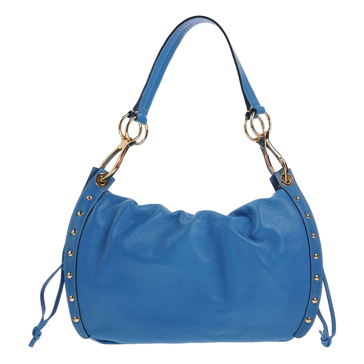 Gattinoni Italian Made Blue Leather Large Studded Hobo Bag