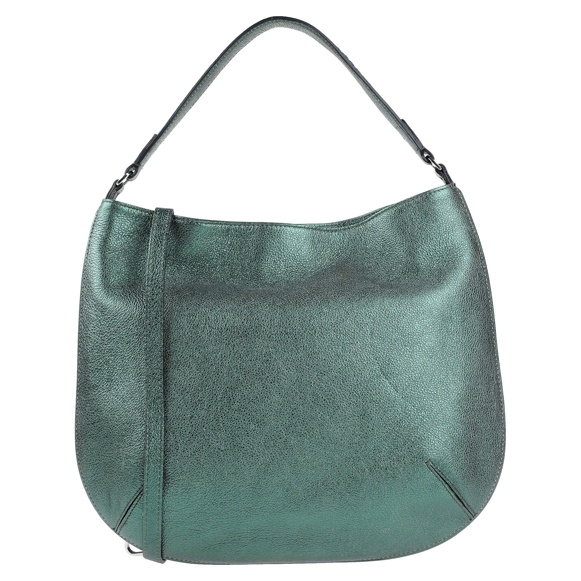 Gianni Chiarini Italian Made Metallic Green Leather Large Hobo Bag