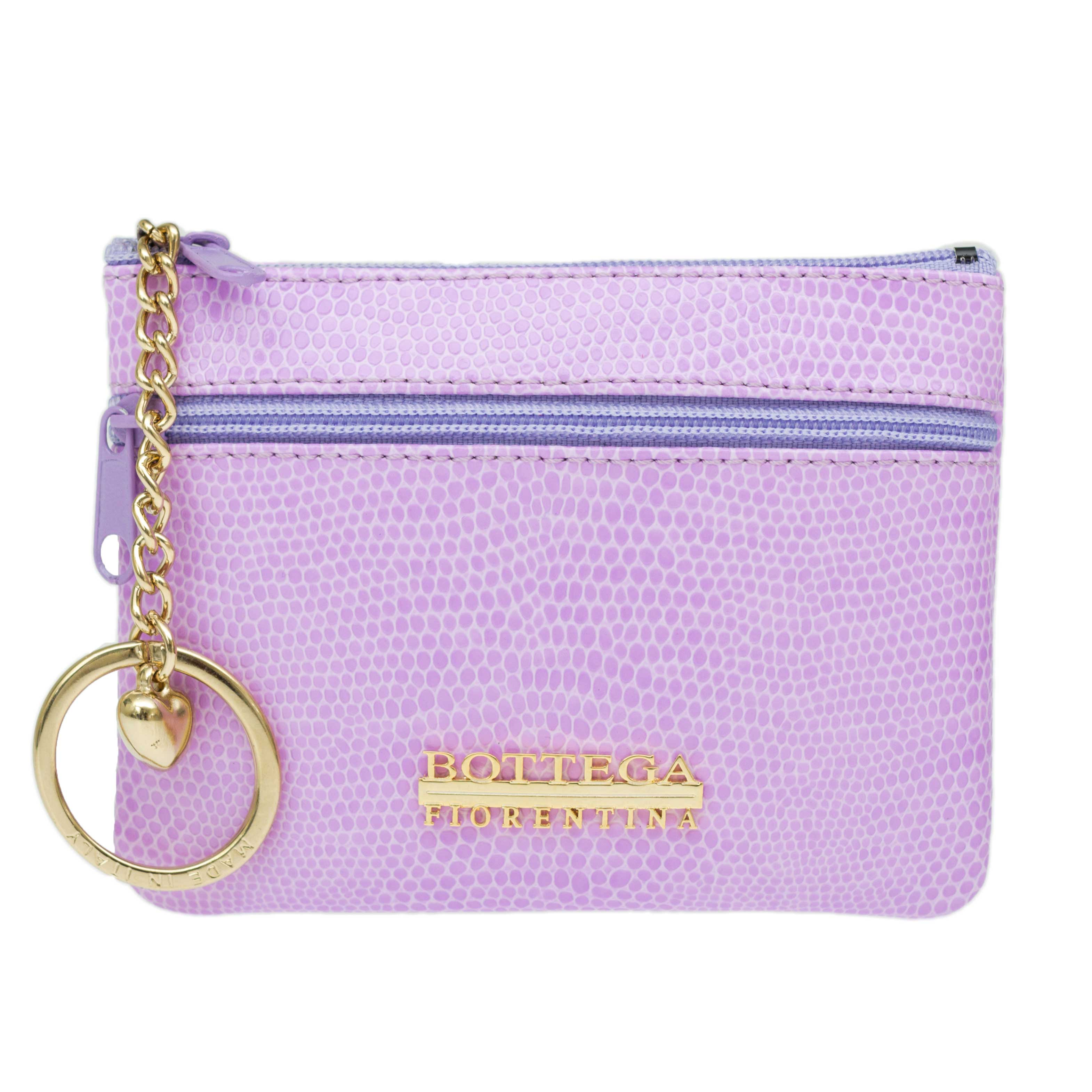 Bottega Fiorentina Italian Made Lilac Lizard Print Leather Small Womens Key Case