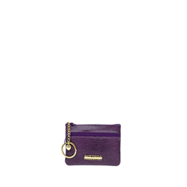 Bottega Fiorentina Italian Made Purple Lizard Print Leather Small Womens Key Case