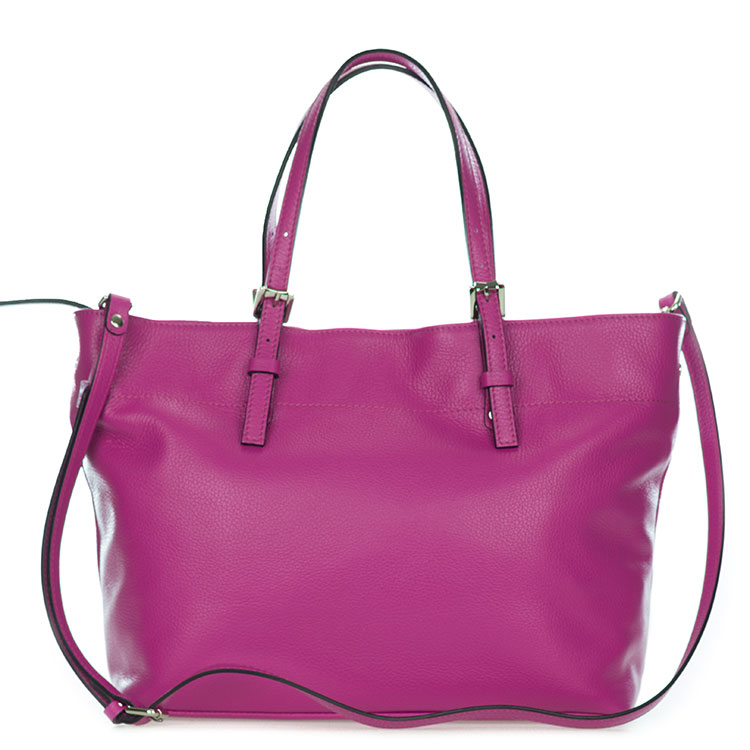Gianni Chiarini Italian Made Magenta Pebbled Leather Large Carryall Tote Bag