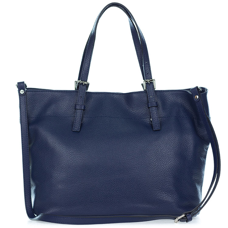 Gianni Chiarini Italian Made Navy Blue Pebbled Leather Large Carryall Tote Bag