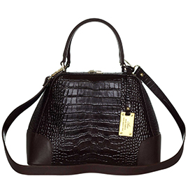 AURA Italian Made Brown Croc Embossed Leather Small Tote