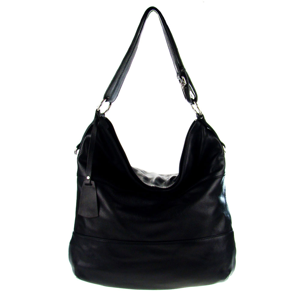 Italian Made Black Leather Large Slouchy Hobo Bag By M.A.P. Italy