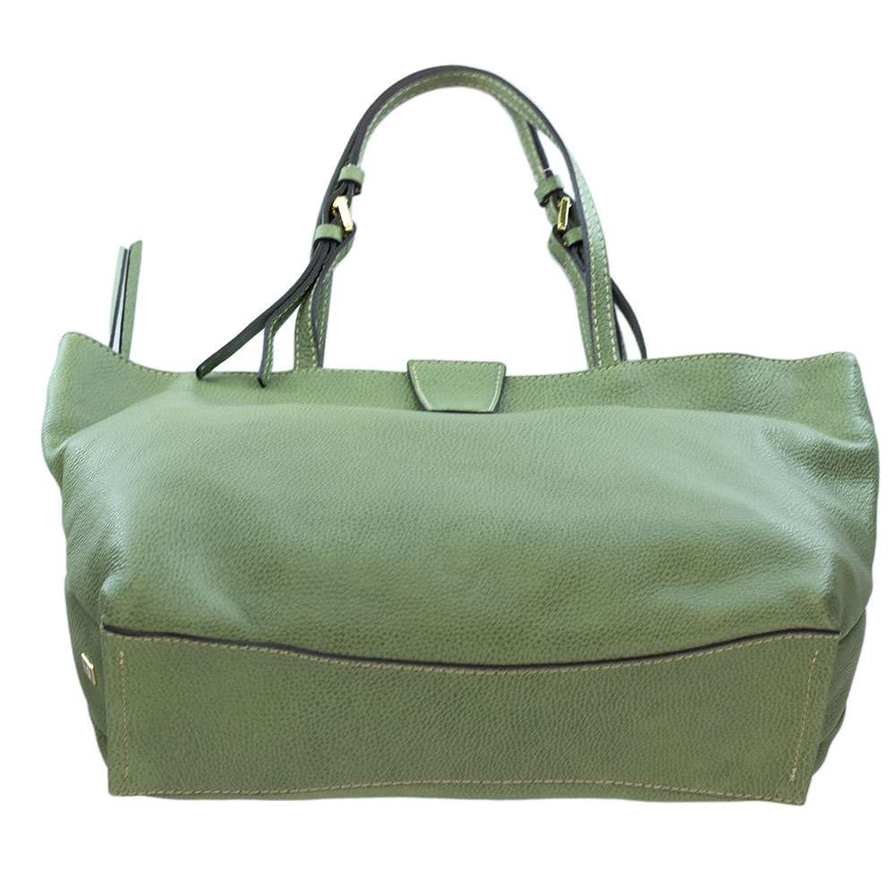 5f5fc530f1a6 Gianni Chiarini Italian Made Moss Green Pebbled Leather Large Carryall Tote  Bag
