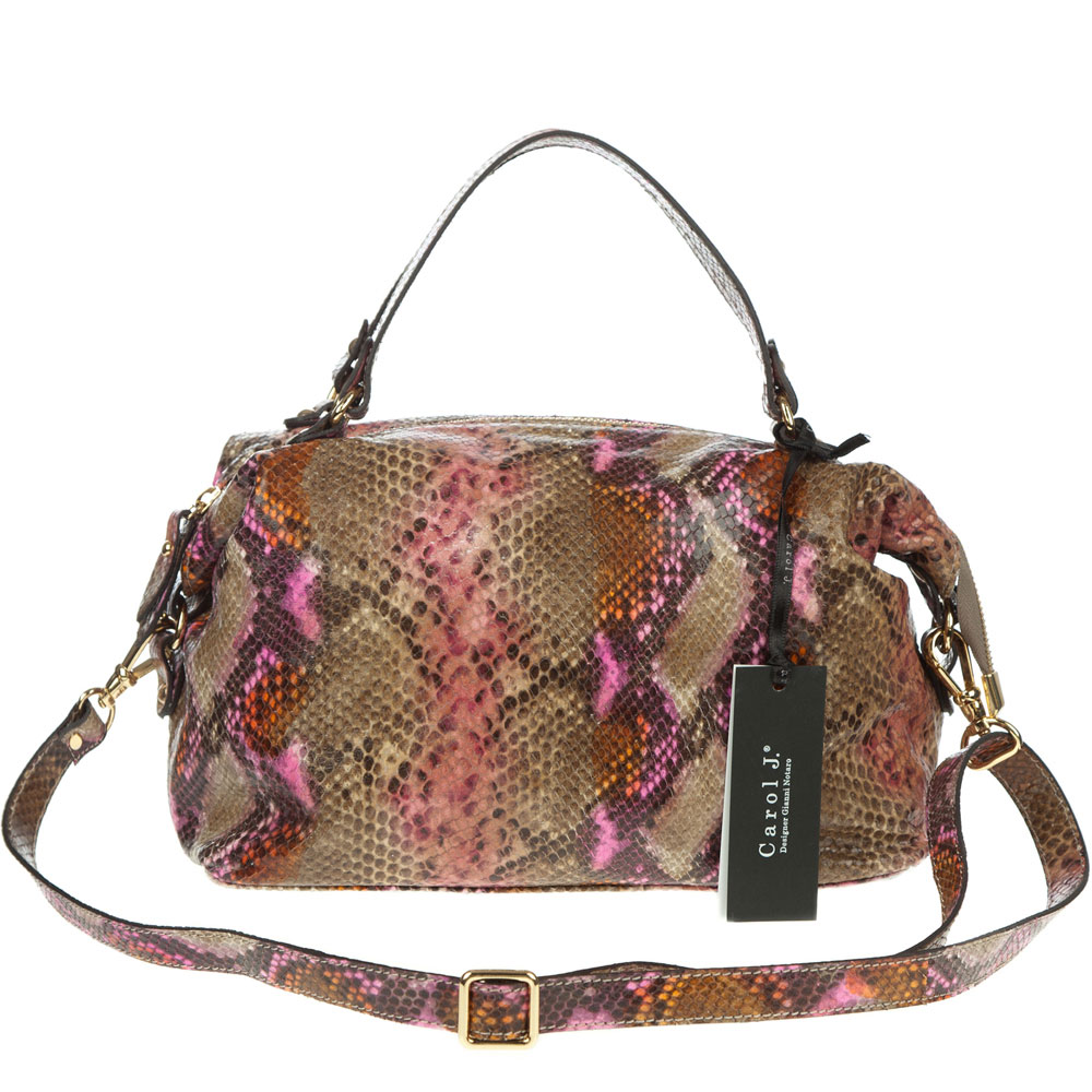 6a84f46443 Carol J. Italian Made Snake Python Embossed Small Leather Satchel Bag