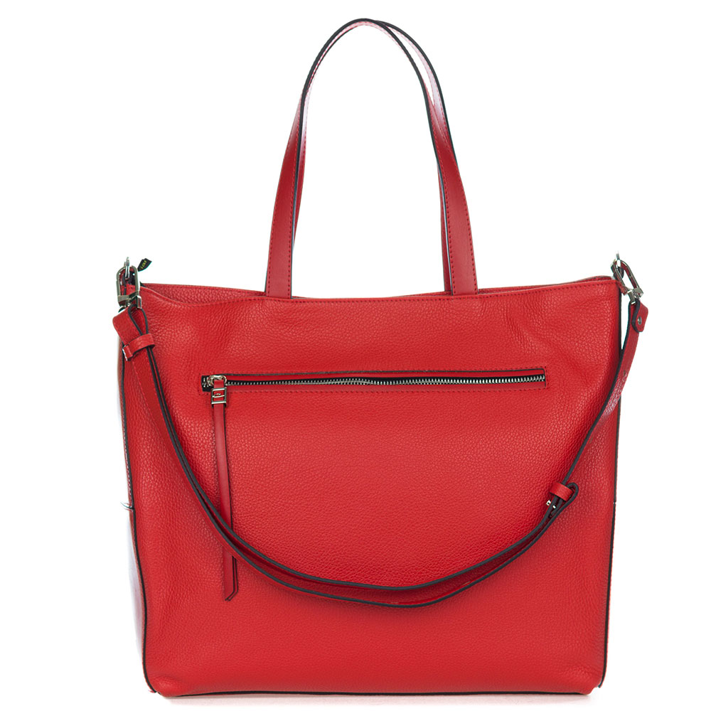 Gianni Chiarini Italian Made Red Pebbled Leather Large Carryall Tote Bag with Pocket