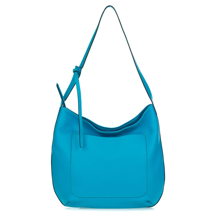Gianni Chiarini Italian Made Turquoise Pebbled Leather Large Slouchy Hobo Bag