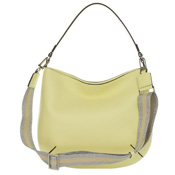 Gianni Chiarini Italian Made Pale Yellow Pebbled Leather Medium Hobo Bag
