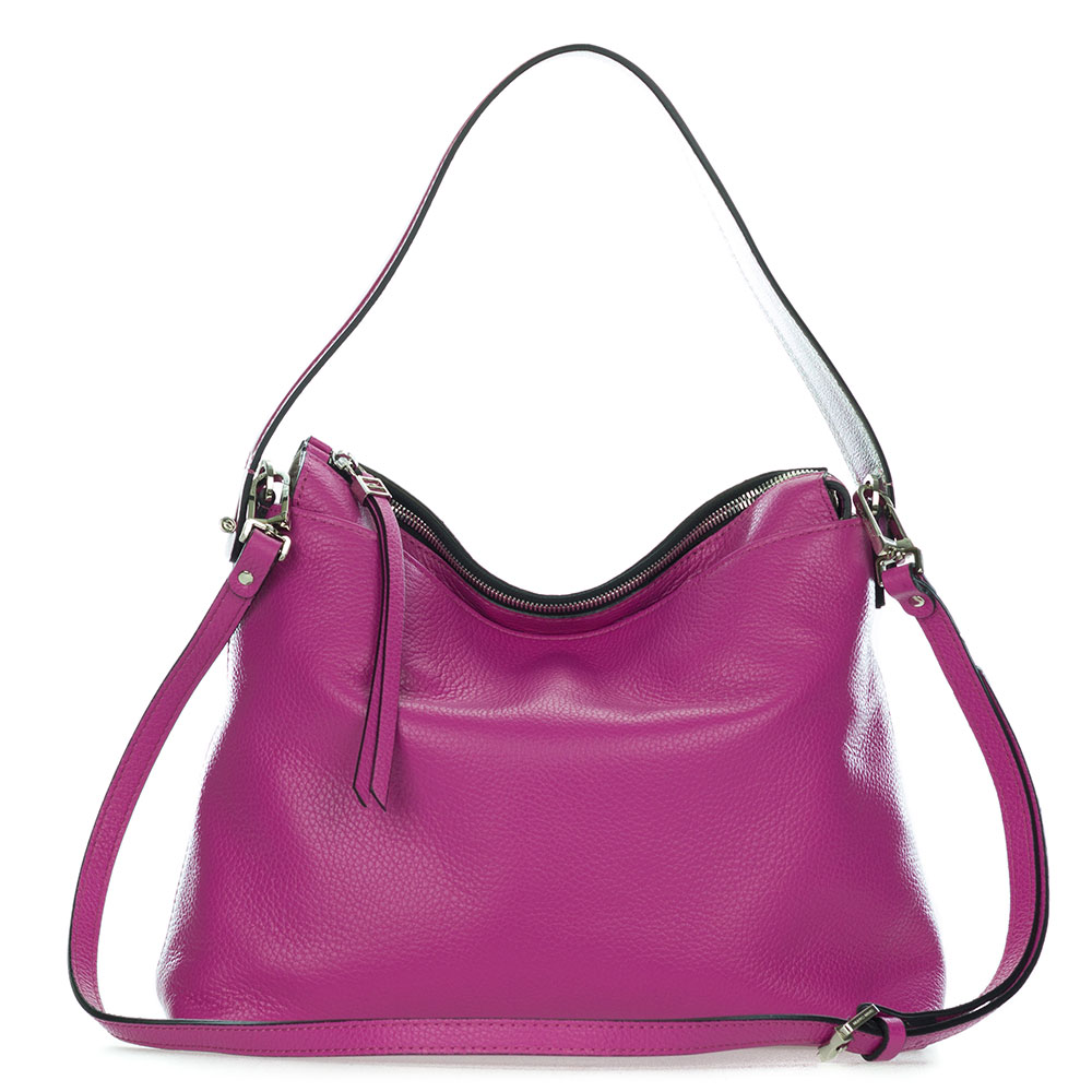 Gianni Chiarini Italian Made Magenta Pebbled Leather Slouchy Hobo Bag