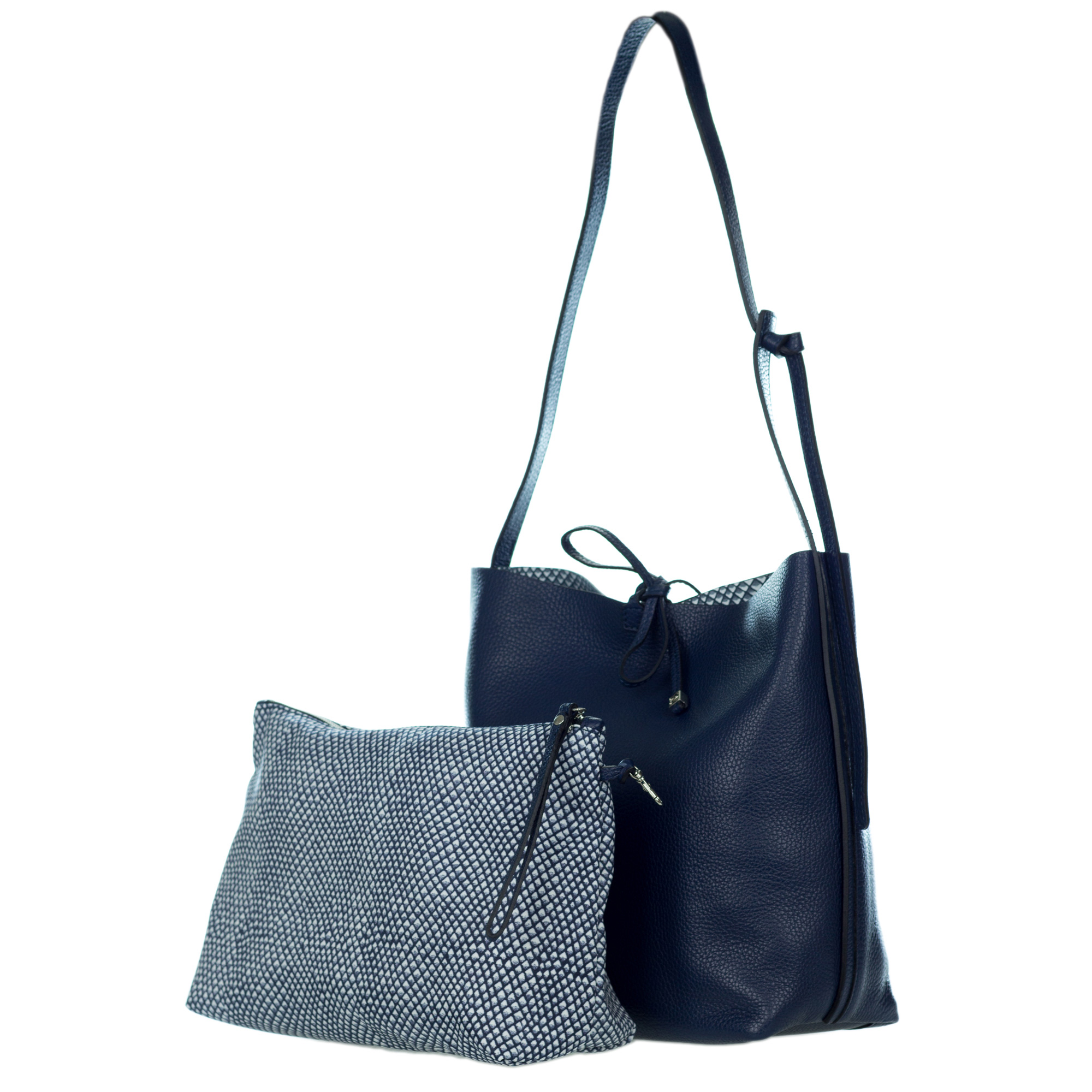 125c72ded8d Gianni Chiarini Italian Made Navy Blue Pebbled Leather Slouchy Open Top  Shoulder Bag. Hover to zoom